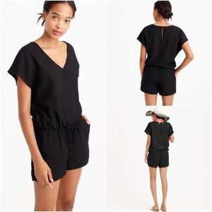 J. Crew Drapey V-Neck Linen Romper in Black
